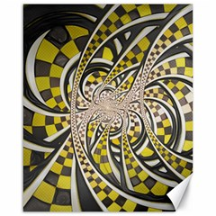 Liquid Taxi Cab, A Yellow Checkered Retro Fractal Canvas 16  X 20