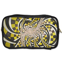 Liquid Taxi Cab, a Yellow Checkered Retro Fractal Toiletries Bags 2-Side