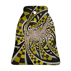Liquid Taxi Cab, a Yellow Checkered Retro Fractal Ornament (Bell)