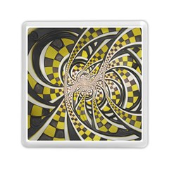 Liquid Taxi Cab, a Yellow Checkered Retro Fractal Memory Card Reader (Square)