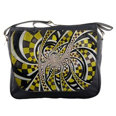 Liquid Taxi Cab, a Yellow Checkered Retro Fractal Messenger Bags