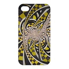 Liquid Taxi Cab, a Yellow Checkered Retro Fractal Apple iPhone 4/4S Premium Hardshell Case