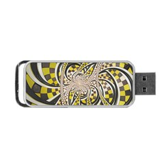 Liquid Taxi Cab, a Yellow Checkered Retro Fractal Portable USB Flash (One Side)