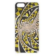 Liquid Taxi Cab, a Yellow Checkered Retro Fractal Apple iPhone 5 Seamless Case (White)