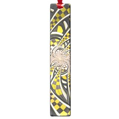 Liquid Taxi Cab, a Yellow Checkered Retro Fractal Large Book Marks
