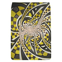 Liquid Taxi Cab, a Yellow Checkered Retro Fractal Flap Covers (S)