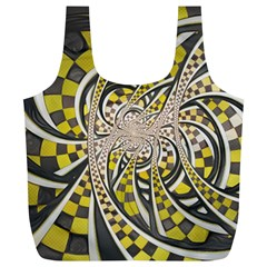 Liquid Taxi Cab, a Yellow Checkered Retro Fractal Full Print Recycle Bags (L)