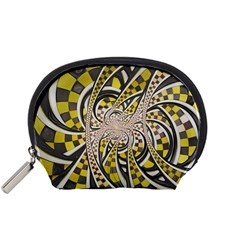 Liquid Taxi Cab, a Yellow Checkered Retro Fractal Accessory Pouches (Small)