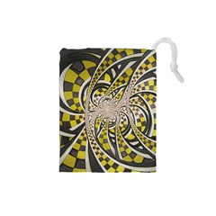 Liquid Taxi Cab, a Yellow Checkered Retro Fractal Drawstring Pouches (Small)