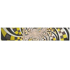 Liquid Taxi Cab, a Yellow Checkered Retro Fractal Flano Scarf (Large)