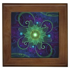 Glowing Blue-Green Fractal Lotus Lily Pad Pond Framed Tiles
