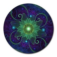 Glowing Blue-Green Fractal Lotus Lily Pad Pond Round Mousepads