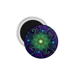 Glowing Blue Green Fractal Lotus Lily Pad Pond 1 75  Magnets