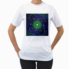 Glowing Blue-Green Fractal Lotus Lily Pad Pond Women s T-Shirt (White) (Two Sided)
