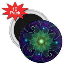 Glowing Blue-Green Fractal Lotus Lily Pad Pond 2.25  Magnets (10 pack)