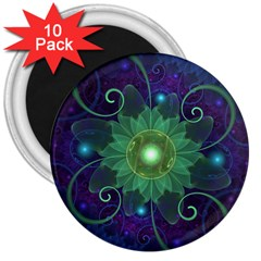 Glowing Blue-Green Fractal Lotus Lily Pad Pond 3  Magnets (10 pack)