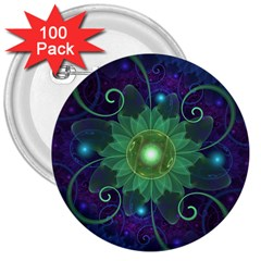 Glowing Blue-Green Fractal Lotus Lily Pad Pond 3  Buttons (100 pack)