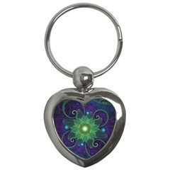 Glowing Blue-Green Fractal Lotus Lily Pad Pond Key Chains (Heart)