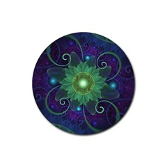 Glowing Blue Green Fractal Lotus Lily Pad Pond Rubber Round Coaster (4 Pack)