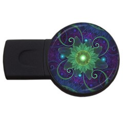 Glowing Blue-Green Fractal Lotus Lily Pad Pond USB Flash Drive Round (1 GB)