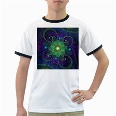 Glowing Blue-Green Fractal Lotus Lily Pad Pond Ringer T-Shirts