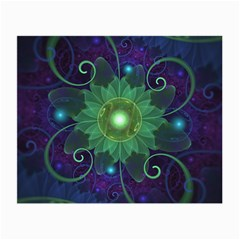 Glowing Blue-Green Fractal Lotus Lily Pad Pond Small Glasses Cloth