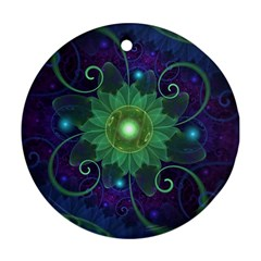 Glowing Blue-Green Fractal Lotus Lily Pad Pond Round Ornament (Two Sides)