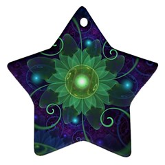 Glowing Blue-Green Fractal Lotus Lily Pad Pond Star Ornament (Two Sides)