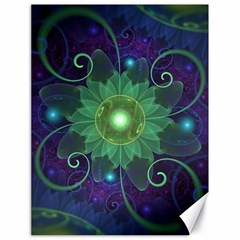 Glowing Blue-Green Fractal Lotus Lily Pad Pond Canvas 18  x 24