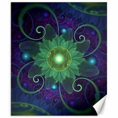 Glowing Blue-Green Fractal Lotus Lily Pad Pond Canvas 20  x 24