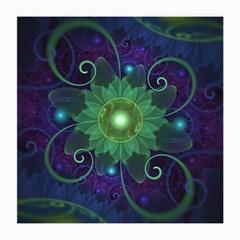 Glowing Blue-Green Fractal Lotus Lily Pad Pond Medium Glasses Cloth (2-Side)