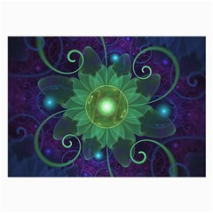 Glowing Blue-Green Fractal Lotus Lily Pad Pond Large Glasses Cloth