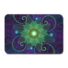 Glowing Blue-Green Fractal Lotus Lily Pad Pond Plate Mats