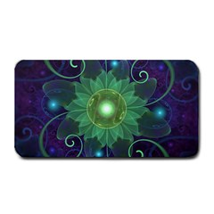 Glowing Blue-Green Fractal Lotus Lily Pad Pond Medium Bar Mats