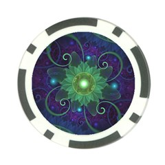 Glowing Blue-Green Fractal Lotus Lily Pad Pond Poker Chip Card Guard