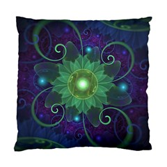 Glowing Blue-Green Fractal Lotus Lily Pad Pond Standard Cushion Case (One Side)