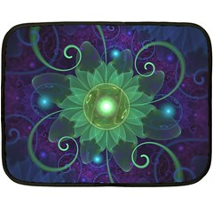 Glowing Blue-Green Fractal Lotus Lily Pad Pond Double Sided Fleece Blanket (Mini)