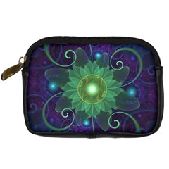 Glowing Blue-Green Fractal Lotus Lily Pad Pond Digital Camera Cases