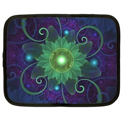 Glowing Blue-Green Fractal Lotus Lily Pad Pond Netbook Case (XL)