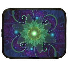 Glowing Blue-Green Fractal Lotus Lily Pad Pond Netbook Case (XXL)