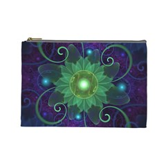 Glowing Blue-Green Fractal Lotus Lily Pad Pond Cosmetic Bag (Large)