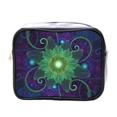 Glowing Blue-Green Fractal Lotus Lily Pad Pond Mini Toiletries Bags