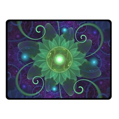 Glowing Blue-Green Fractal Lotus Lily Pad Pond Fleece Blanket (Small)