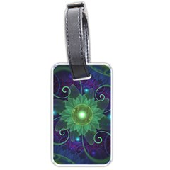 Glowing Blue-Green Fractal Lotus Lily Pad Pond Luggage Tags (Two Sides)
