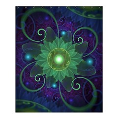 Glowing Blue-Green Fractal Lotus Lily Pad Pond Shower Curtain 60  x 72  (Medium)