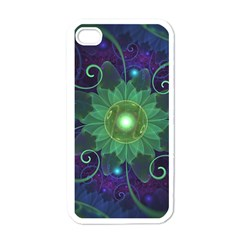 Glowing Blue-Green Fractal Lotus Lily Pad Pond Apple iPhone 4 Case (White)