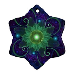 Glowing Blue-Green Fractal Lotus Lily Pad Pond Ornament (Snowflake)