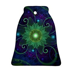 Glowing Blue-Green Fractal Lotus Lily Pad Pond Ornament (Bell)