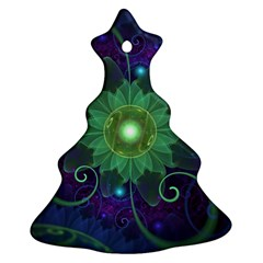 Glowing Blue-Green Fractal Lotus Lily Pad Pond Christmas Tree Ornament (Two Sides)