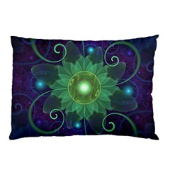 Glowing Blue-Green Fractal Lotus Lily Pad Pond Pillow Case (Two Sides)